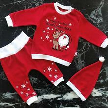Emmababy 3PCS Christmas Newborn Baby Girls Boys Xams clothes Tops Romper Pants Outfits long sleeve baby clothing sets 0-18M