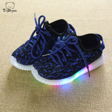 2020 Children Shoes With Led Light Yee zy Sneakers Knitted Boys Girls Trainers Korean Child Light Up Shoes Flashing Sport Shoes(China)