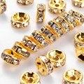 Оптовая продажа 100 шт. 4 мм Металлические Покрытые Кристаллами Стразы ронделли разделительные бусины для изготовления ювелирных изделий Diy ...
