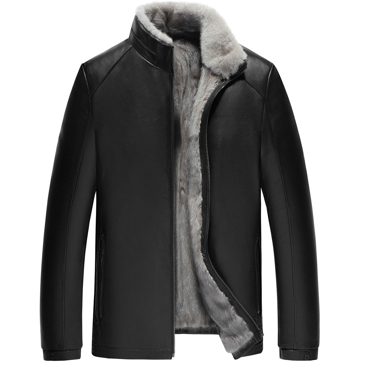 Genuine Leather Jacket Men Real Mink Fur Liner Coat Winter Jacket Men Real Goatskin Warm Jackets Plus Size Chaqueta Hombre Y1652