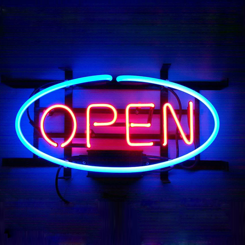 Custom Made Open Neon Signs Red And Blue Neon Lights Retro Neon Word Lights For Sale