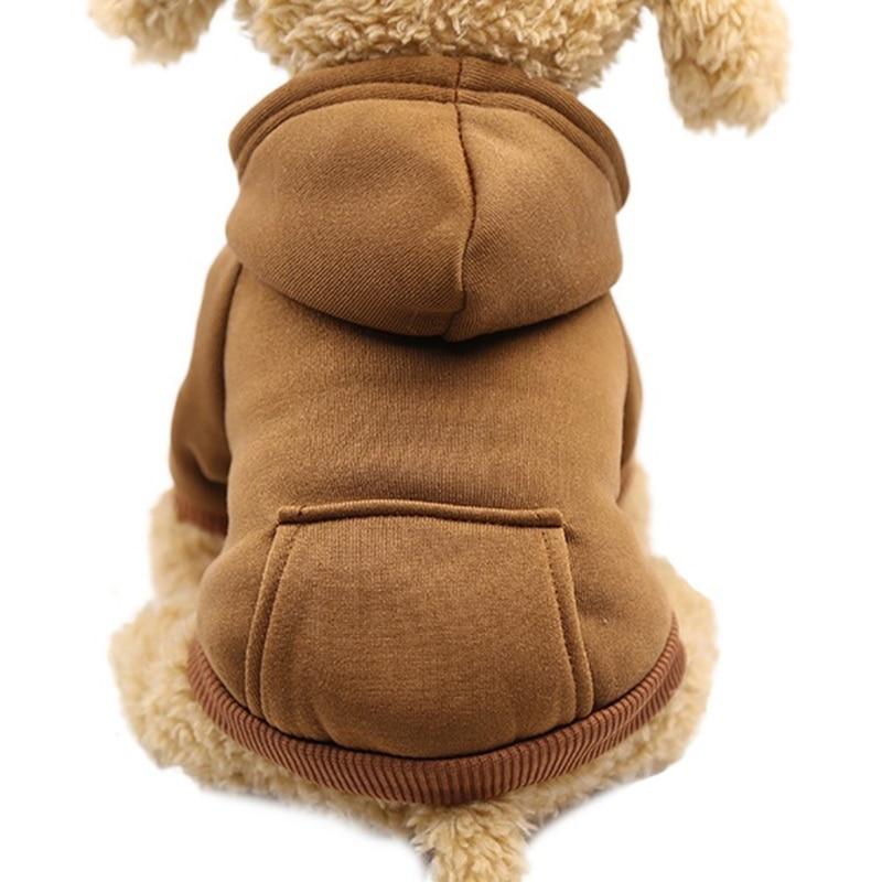 Одноцветная Толстовка для домашних животных с шапкой, осенне-зимняя одежда для собак, джемпер для питомцев, толстовки для собак, толстовка, продукт для домашних животных - Цвет: brown