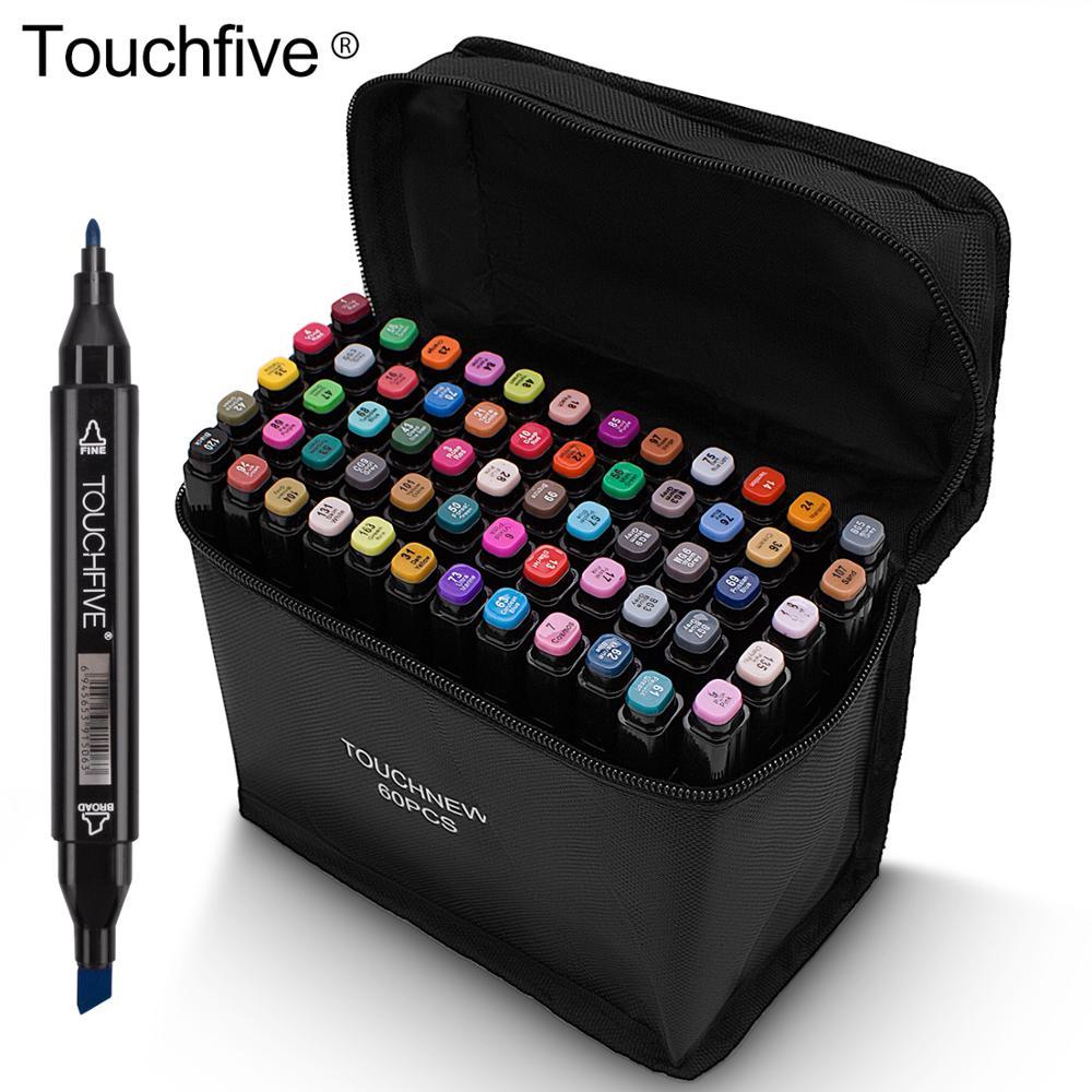 Marcadores touchfive bush caneta marcadores de álcool forro para desenho esboço arte suprimentos 24 36 48 60 80 168 cores marcador de volta à escola