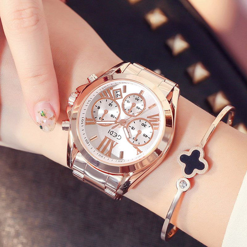 Women Watch Clock Calendar Business-Dress Quartz Rose-Gold Female Waterproof Top-Brand