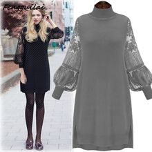 New Sexy Slim Lace Stitching Women Dress Retro Lantern Sleeve Long Section Knitted Sweater Winter Spring