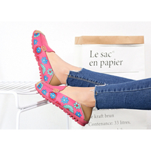 Loafers Shoes Moccasins Flats-Print Slip-On-Ballet Genuine-Leather Flower Woman Fashion