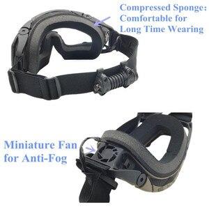 Image 4 - FMA טקטי Si בליסטי נגד ערפל משקפי עם מאוורר נגד אבק חיצוני Airsoft פיינטבול בטיחות משקפיים Eyewear עם 2 עדשה