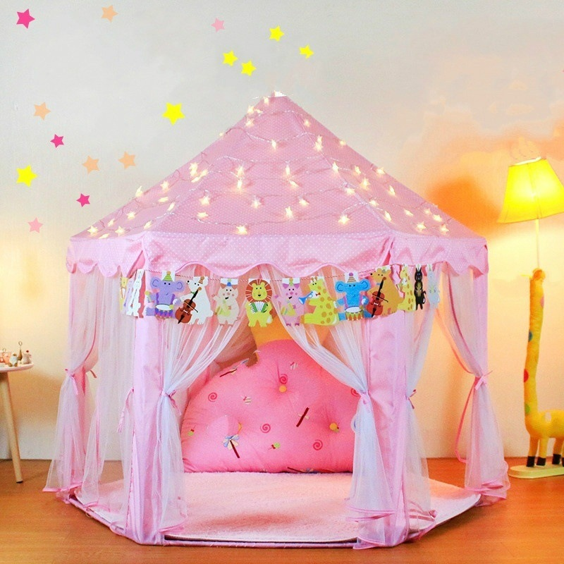 Portable Kids Toy Tent Princess Girl Hexagon Dreaming Castle Play House Children Folding Fairy Playhouses Baby Beach Tent