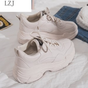 Image 2 - Size 35 40 2019 New Casual Womens Sneakers Lace Up Platform Shoes Woman For Thick Soled Vulcanize Shoes Comfortable Footwear