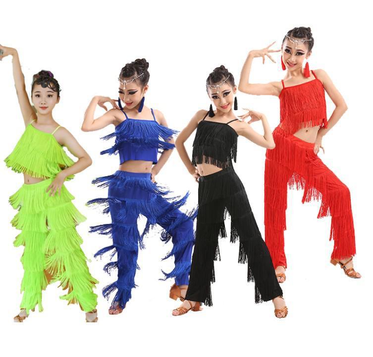 Kids Latin Dance Costumes Ballroom Plus Size Fringe Tassel Dress Pants Girls Sequin Salsa Samba Children Stage Outfits Costume