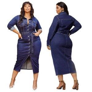 Размера плюс 4XL приталенный из джинсовой ткани, джинсовое платье с поясом Для женщин Оболочка одежда с длинным рукавом тонкие облегающие пл...
