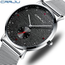 CRRJU autumn new matte quality mens watch, business travel essential watch, mens waterproof and durable watch