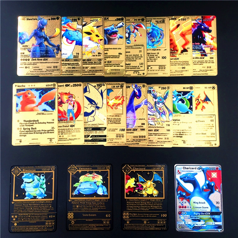 Pokemon Metal Card Game Anime Battle Card Gold Charizard Pikachu Collection Card Action Figure Model Child Toy Gift image
