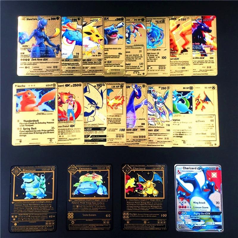 Pokemon metal jogo de cartas anime batalha cartão de ouro charizard pikachu coleção cartão figura de ação modelo de brinquedo da criança presente