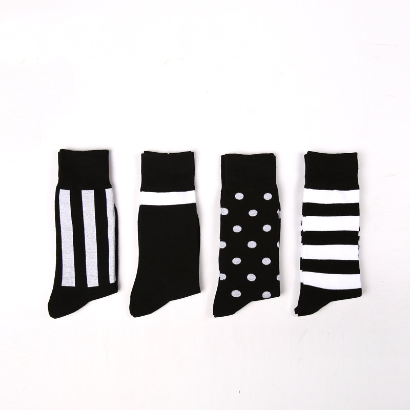 New Business Simple Tube Socks Four Seasons Cotton Black And White Stripes Classic Style Mature Stable Handsome Long Cotton Sock