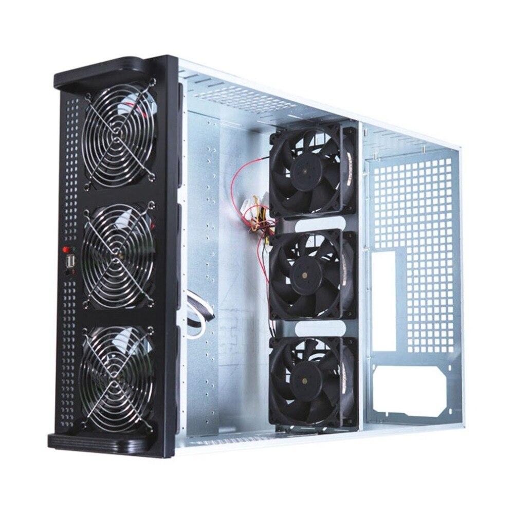 4U горная Рама корпуса, пригодная для 6/8 графической карты стальной открытый воздушный горной сервер шасси с 6 вентиляторами для ETH/BTC/LTC/и т. Д.