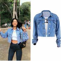 2019 Primavera Verano chaquetas de mezclilla de longitud corta de manga larga de alta calle Jeans Chaqueta corta de moda de Mujer de cintura ancha