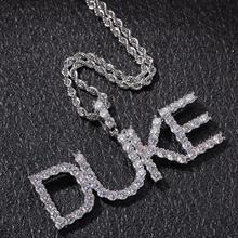 Пользовательское имя теннис писем ожерелья & кулон хип-хоп ледяной ювелирные изделия кубический цирконий 4 мм золото серебро