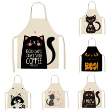 Kitchen Apron Linen Cute Printed Home-Cleaning-Tools Cotton Sleeveless Cat Cartoon 1pcs