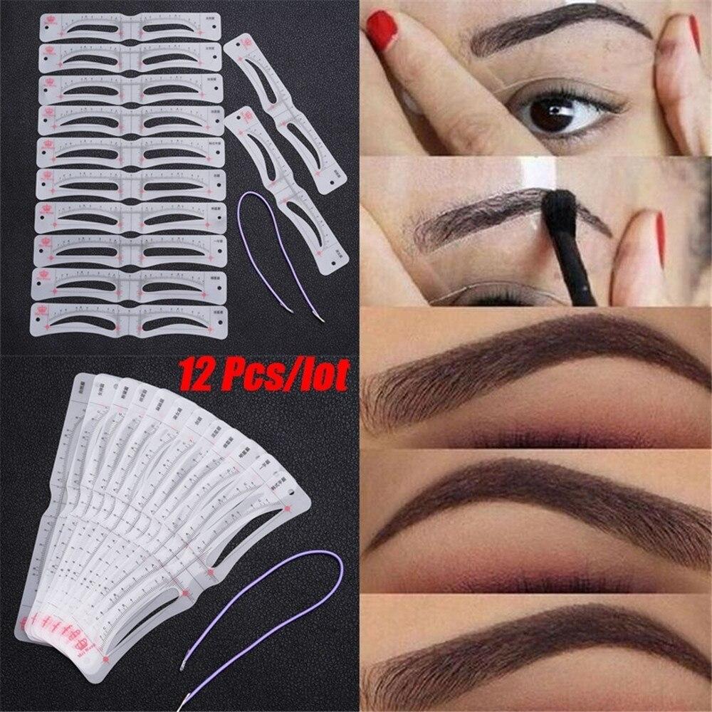 12 pçs/set kit de estêncil de sobrancelha, ferramentas de maquiagem diy, modelo de sobrancelha, estêncil para mulheres, acessórios de ferramentas de beleza