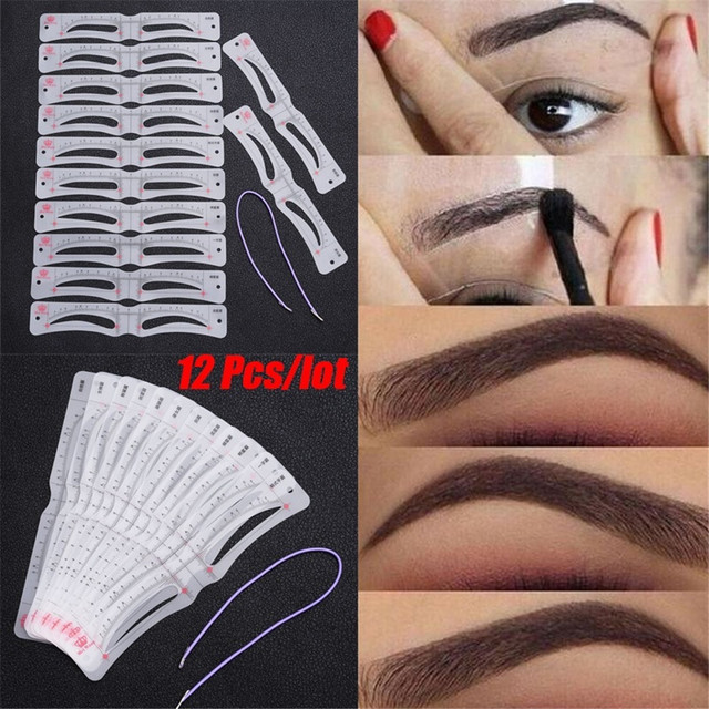 12Pcs/Set Grooming Eyebrow Stencil Kit Makeup Tools DIY Beauty Eyebrow Template Stencil For Women Beauty Tools Accessories