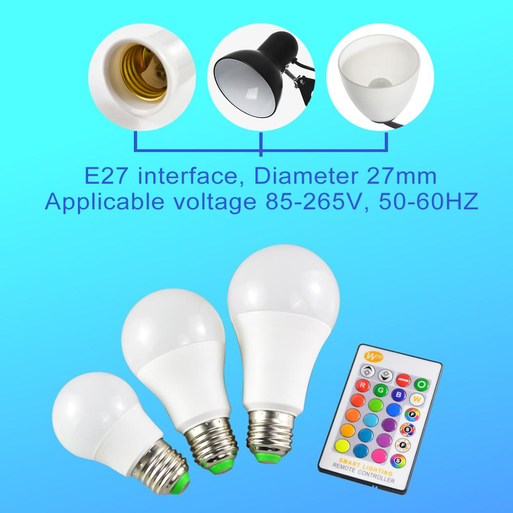 Image 5 - E27 LED 5/10/15W 16 Color Changing Magic Bulb 220V 110V RGB + White Remote Smart Light lamp Dimmable Memory + IR Remote Control-in LED Bulbs & Tubes from Lights & Lighting