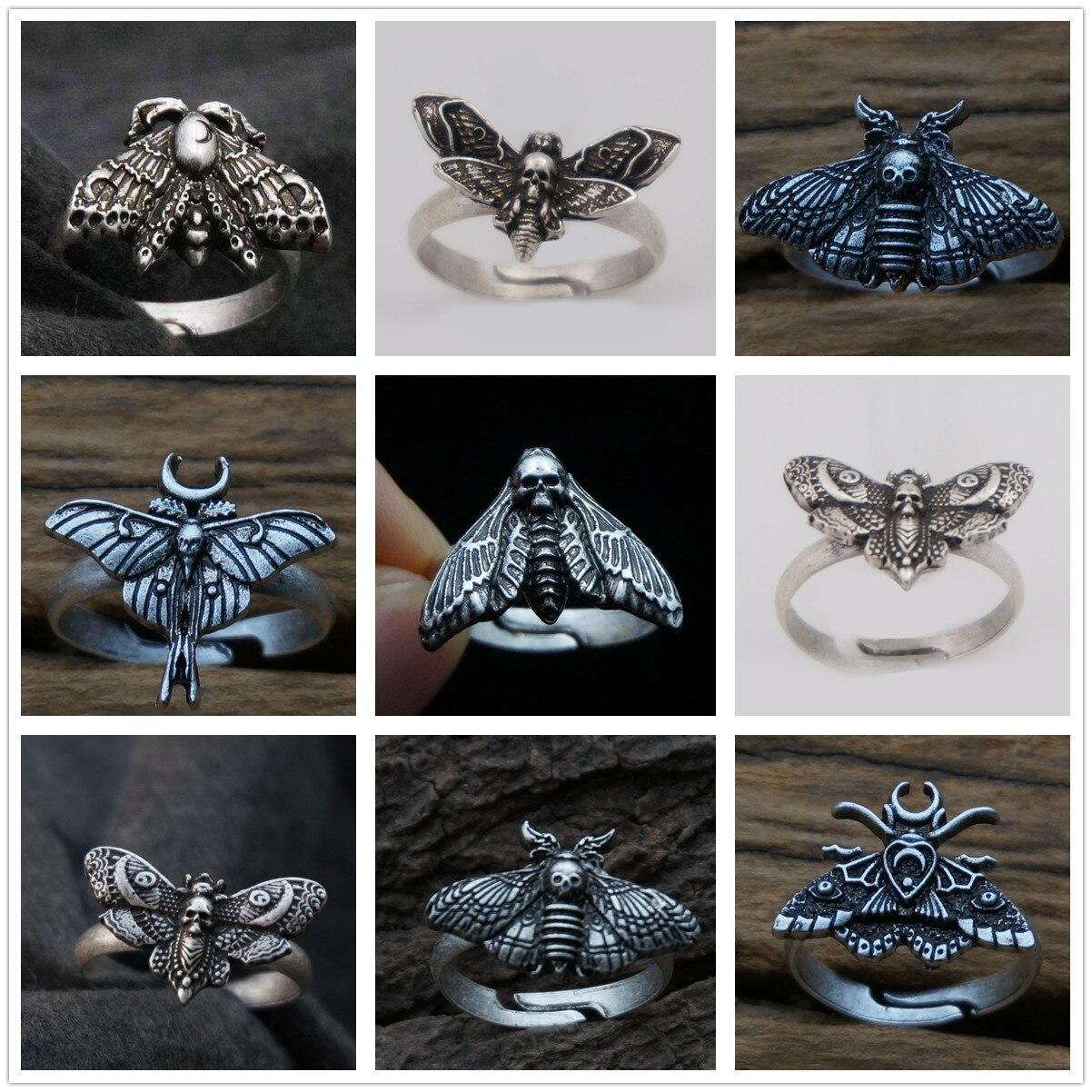Смерть моли, Необычные материалов кольцо ювелирные изделия насекомые кулон череп Мертвая голова бабочка Рождественский подарок