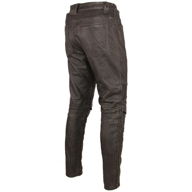 Fashion Vintage Black Men Leather Pant Thick 100% Natural Cowhide Motorcycle Biker Trousers Moto Pants Protector Available M350 2