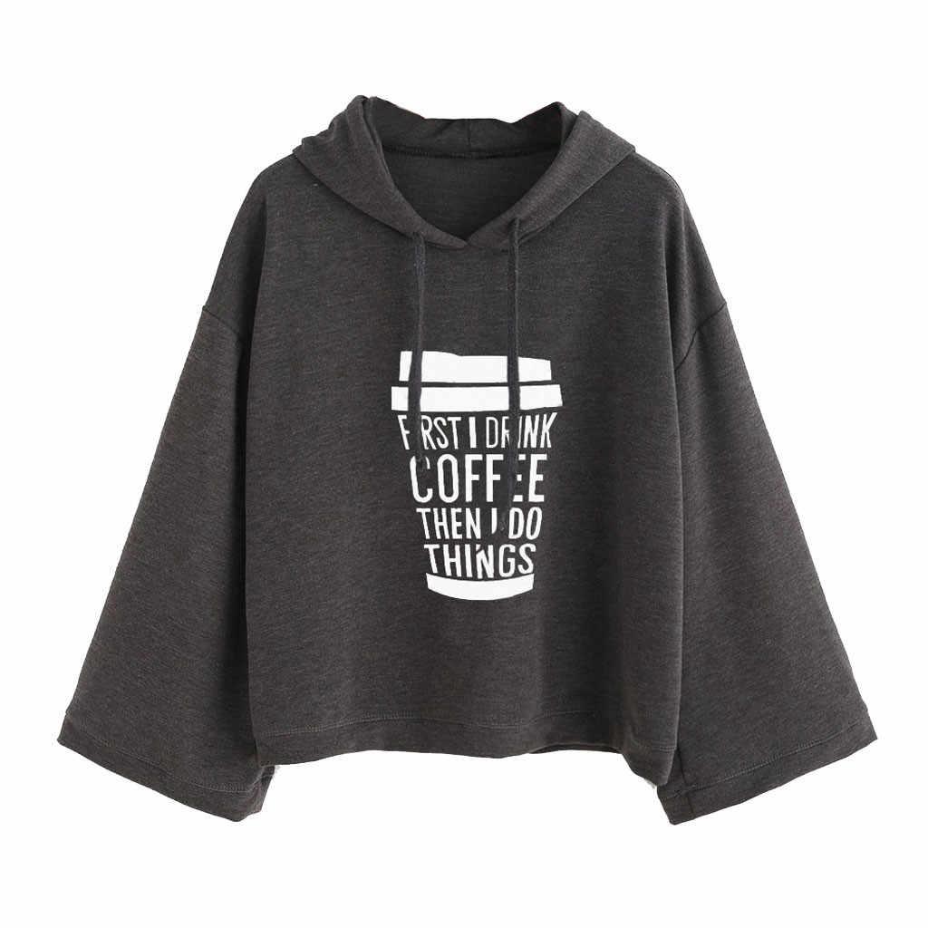 Estilo coreano feminino hoodies de manga longa cinza primeiro eu preciso de café carta impressão moletom com capuz pullovers sudaderas mujer z0806