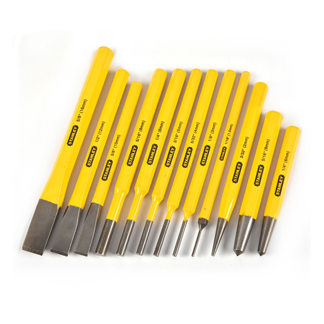 Stanley Workshop Tools Steel Punches Grinder Chisel Set Hole Cetre Punching for Pins Metal Stone Chisels Punktak Locksmith Kit 4