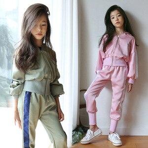 Весенний Повседневный Спортивный костюм для девочек и мальчиков, куртка на молнии и штаны, комплект одежды для подростков, 2 шт./компл., детск...