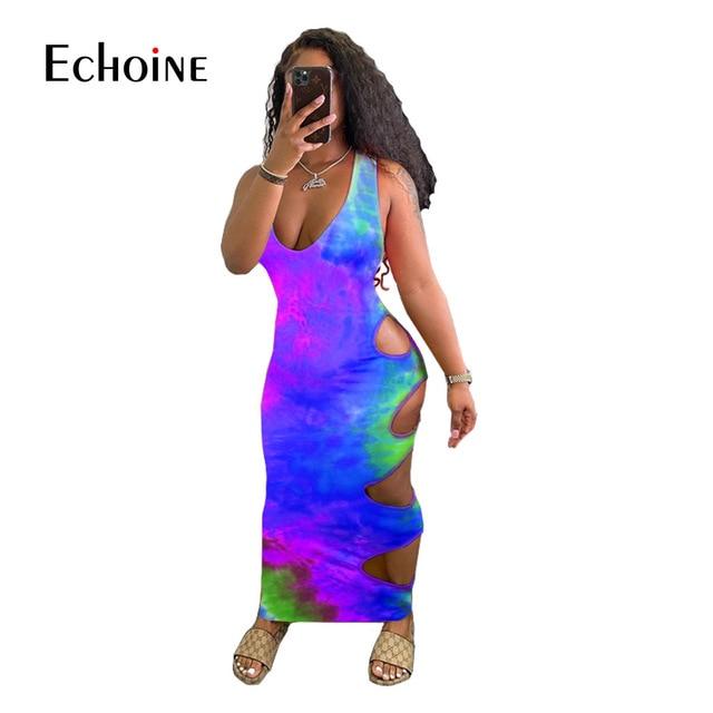 Echoine Women Summer Tie Dye Print Hole Maxi Dress V-neck Sleeveless Cut Out Bandage Sexy Night Party  Bodycon Long Dresses 4