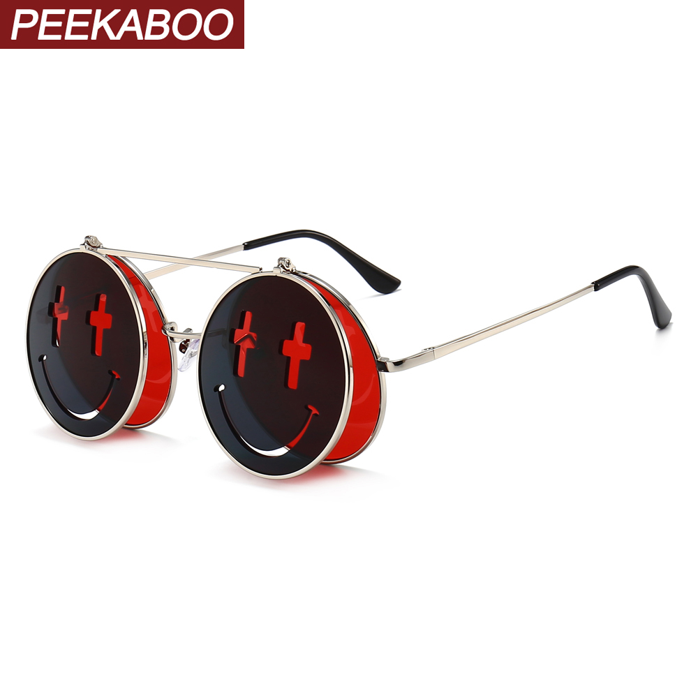 Peekaboo Style Punk Flip Up Sunglasses Round Female Smile Retro Clear Color Red Men Vintage Sun Glasses For Women Mirror Lens