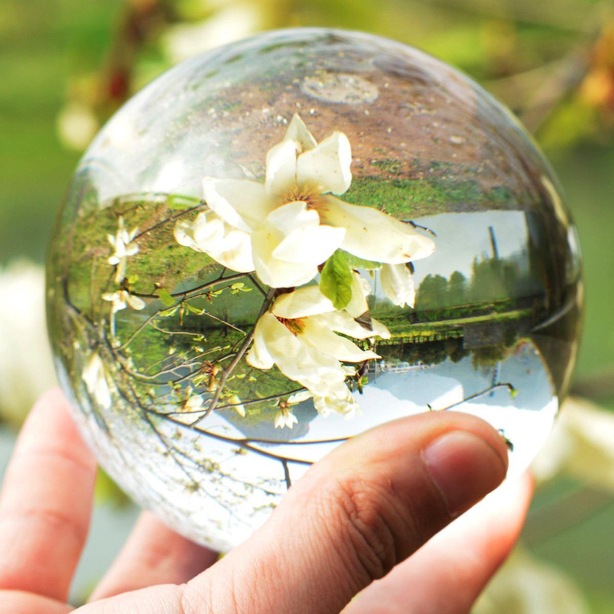 80/100/110mm Kristall Ball Fotografie Kugeln Runde Klar Natürliche Glas Bälle Reise Nehmen Bilder Dekorative Kugeln