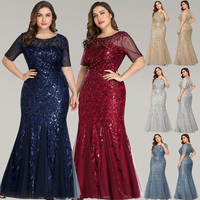 Queen Abby Evening Dresses Mermaid Sequined Lace Appliques Elegant Mermaid Long Dress 2019 Party Gowns Plus Size