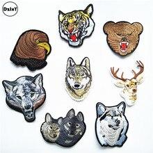 Vêtements brodés girafe Animal, 1 pièce, patchs pour vêtements, rayures, Motif loup, bricolage, Appliques, @ QQ