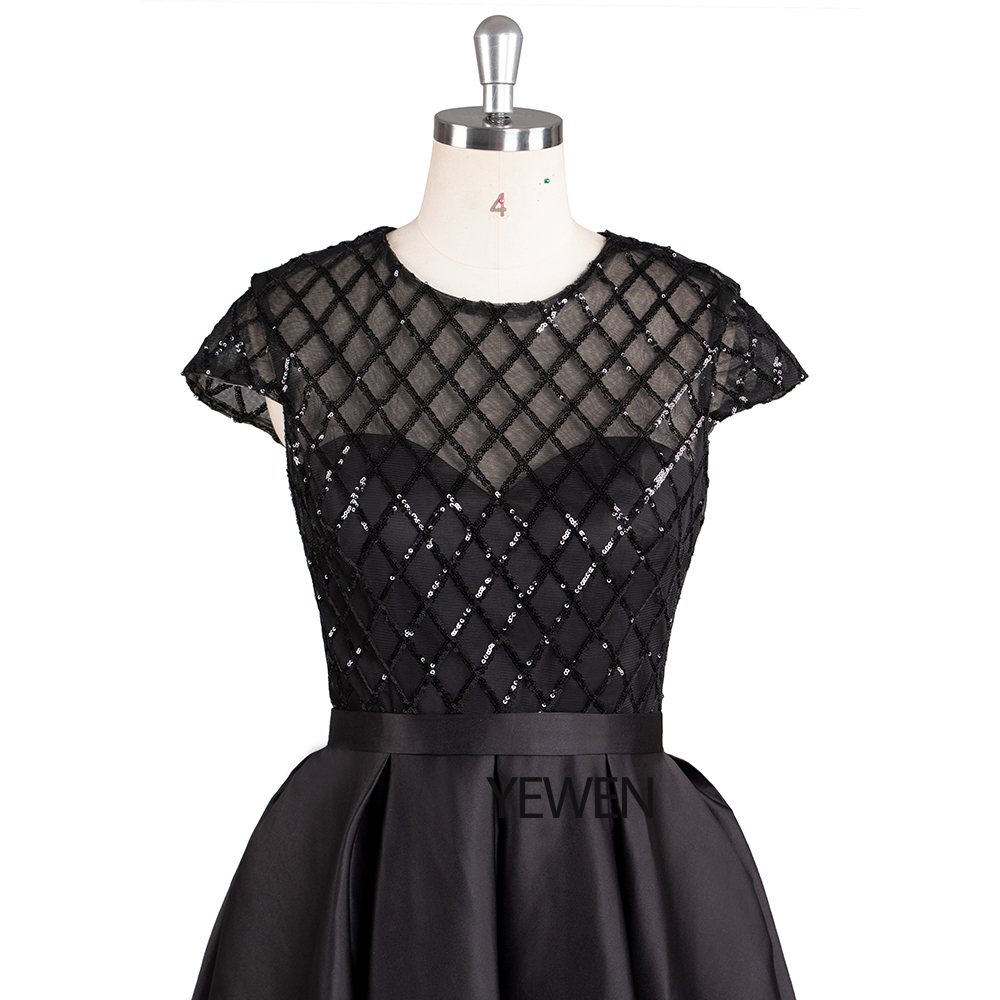 Black Formal Prom Dress Short elegant O-Neck short sleeve cocktail dresses special occasion dresses vestido de coctel 2019