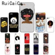 Melanin Poppin Queen Afro Black Girl Magic rock Soft Phone Case for iPhone X XS MAX 6 6s 7 7plus 8 8Plus 5 5S SE XR(China)