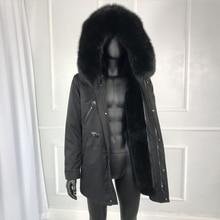 Real fox fur collar rabbit fur lined hooded parka winter mens outwear