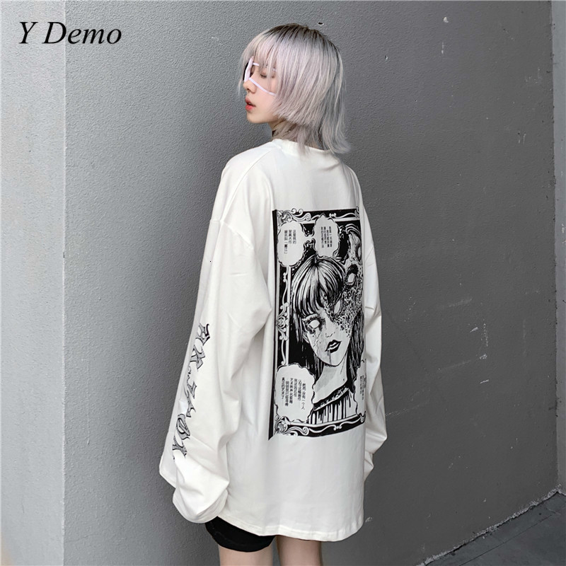 Harajuku Oversized Doodle Printing Women Sweatshirt O Neck Loose Japanese Creepy Fleece