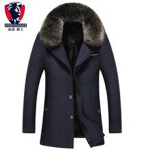 2019 new mens winter wool coat cashmere thicker warm with fur gray dark blue Lapel big collar Plus velvet clothing