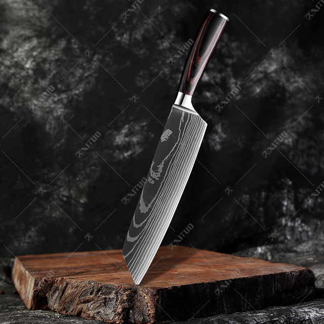 Japanese Chef Knives With Laser Etched Damascus Steel Pattern 5