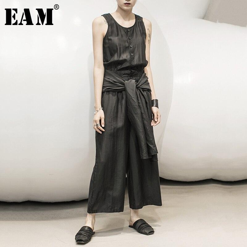 [EAM] Loose Fit Women Bandage Ways Wear Long Jumpsuit New High Waist Pocket Stitch Pants Fashion Tide Spring Summer 2020 1Y356