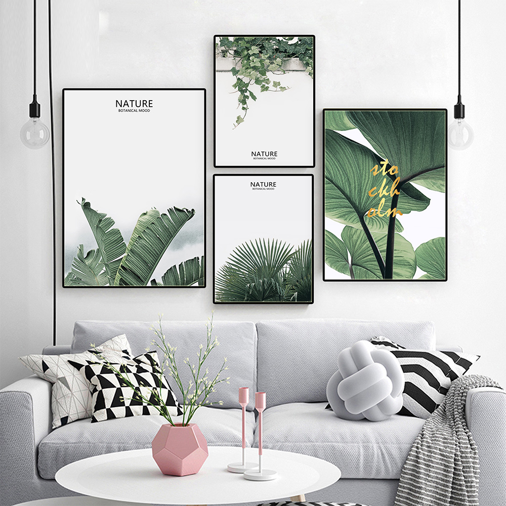 Modern Four Green Leaves Nursery Wall Art Canvas Poster Prints Wall Pictures For Living Room Decoration Laminas Decorativas