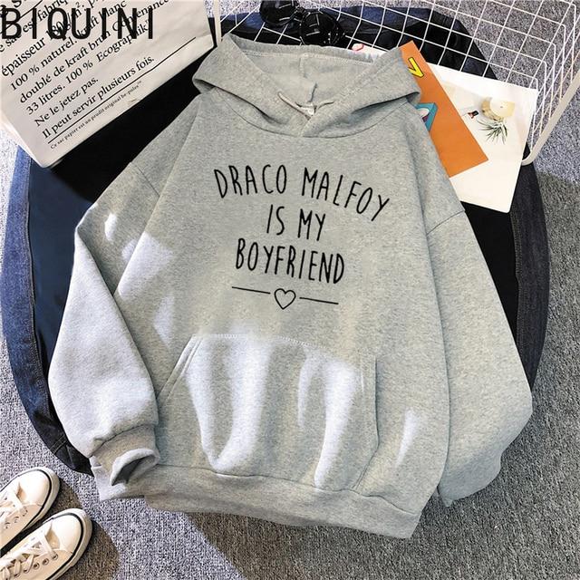 Draco Malfoy Is My Boyfriend Letter Print Sweatshirts Harajuku Hoodies Women 2021Spring Casual Fashion Streetwear Wram Pink Tops 2