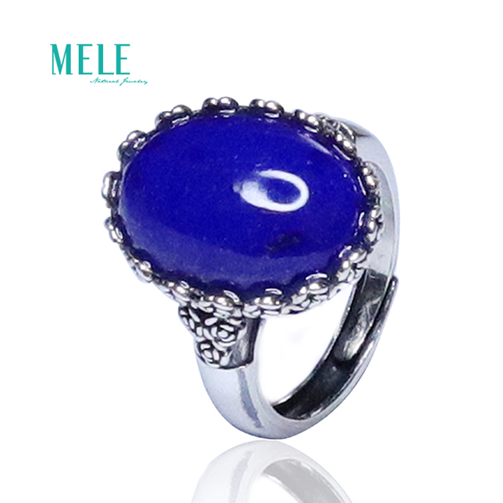 Natural high quality Lapis-lazuli 15*20Rectangle 925 silver Ring  Retro Simplicity Open able ring