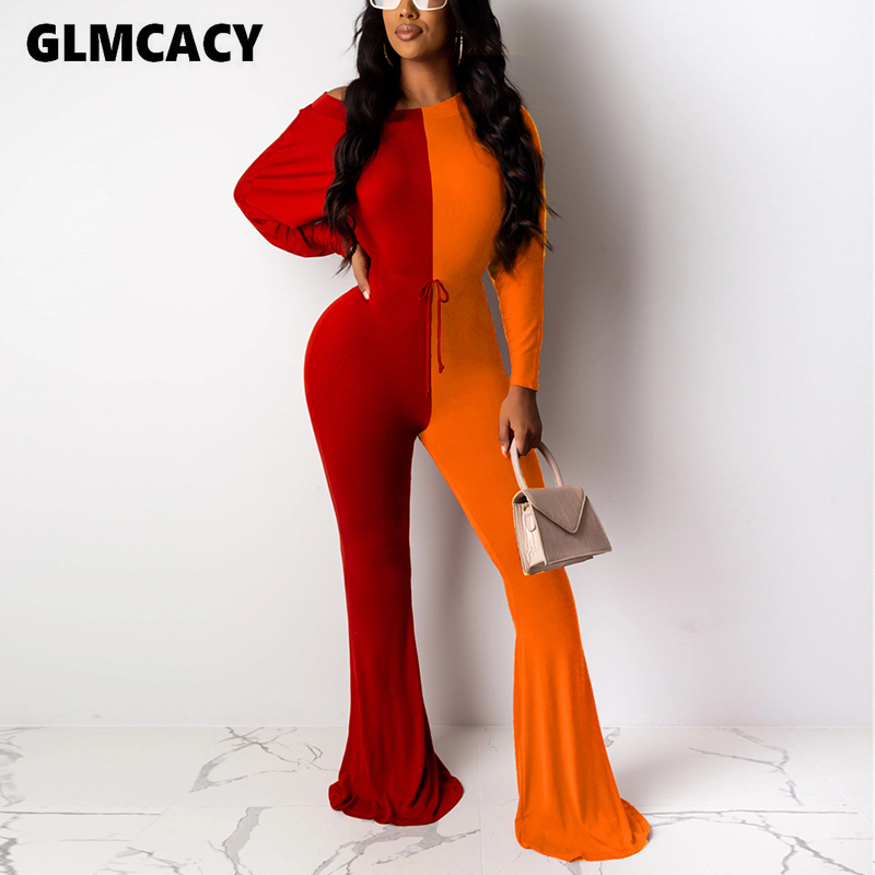 Women Color Block Printed Wide Leg Bodycon Jumpsuit Long Sleeve Draw String Spring Fall Stretch Female Overall