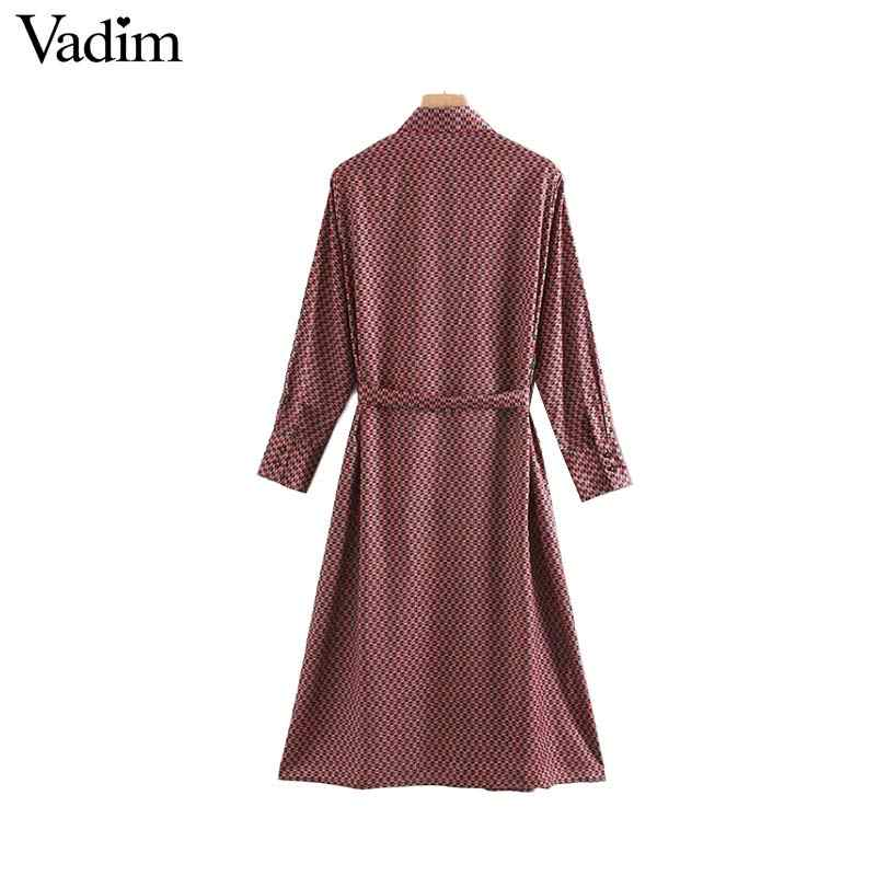 Vadim נשים אופנתי שיק הדפסת midi שמלה ארוך שרוול עניבת פרפר אבנט צד פיצול נשי אופנה שמלות vestido mujer QC966