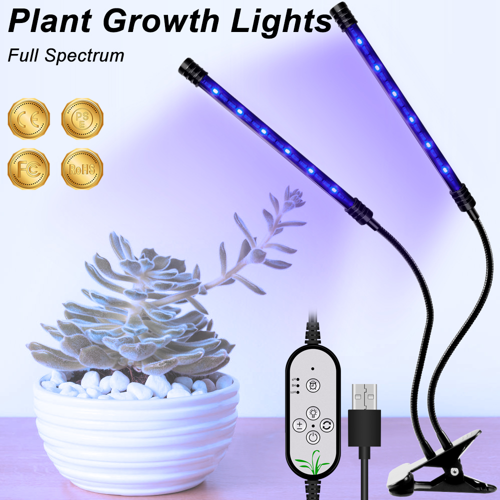 Full Spectrum LED Grow Dimmable Lights USB Growth LED Plant Lamp DC 5V LED Greenhouse Light Flowers Seedling Indoor Growing Lamp