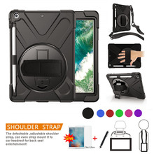 Case For iPad 10.2 Pencil Holder Cover For 2020 iPad 10.2 7 7th 8 8th Generation A2197 Kid Safe Shockproof Armor cover+Glass+Pen